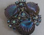 Vintage brooch signed Jomaz Joseph Mazer sea shell rhinestone brooch or pin seashell brooch silver tone