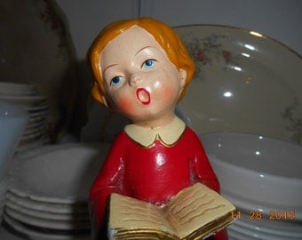 Vintage Figurine of Christmas Caroler with mouth in a O Marked Parma By AAI Made in Japan