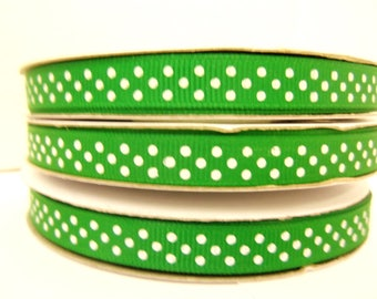 Polka Dot Grosgrain 3/8 inch x 25 yards ...Your Choice of Colors...33% OFF