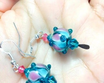 Blue Teal  Swarovski  Crystal Element Earrings .925 Silver Filled