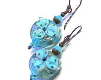 Turquoise Tiger Lily Earrings, Artisan Lampwork Glass, Handcrafted OOAK (One of a Kind) Floral Jewellery