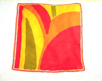 Mod vintage 60s multicolor, abstract blocks polyester scarf. Made by Vera.