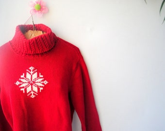 Classy vintage80s , deep red cotton,hand knit , turtle neck sweeter with a white snowflaks. Made by Ralph Lauren. Size P/Large