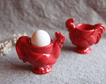 Pair of Rooster Egg Cups in Stoneware with Red Glaze