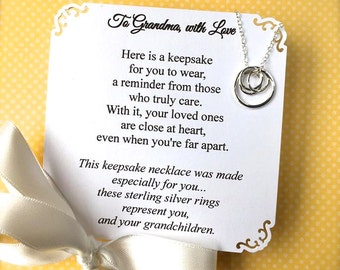 GRANDMA NECKLACE - POEM Card Included  Grandmother Jewelry Sterling Silver Repres. a Grandma and Her Grandchildren Gift Wrapped