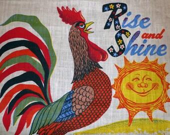 Vintage Rooster 1979 Calendar Tea Towel - Linen Poland