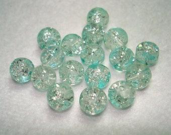Blue Splashed Crackle Glass Round Beads (Qty 17) - B3221