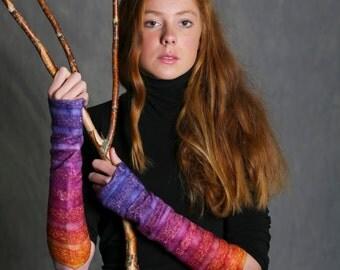 Handmade | Fingerless gloves | Mittens | Wrist cuffs | Felt glove |  Pink Blue