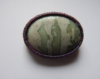 Large Oval Jasper Pin - Beaded Border - Suede Backing