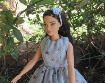 Handmade Curvy Barbie Dress in Country Blue Floral with Flower Headband