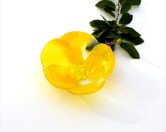 Fused glass flower bowl, yellow feathery on clear for the petals,  yellow center