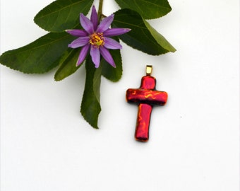 Fused dichroic glass pendant, cross, red, orange, shining