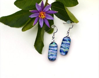 154 Fused glass dichroic earrings, silver, blue, green
