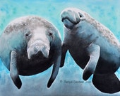 Manatee Watercolor Art Pr...