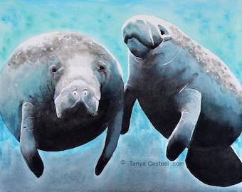 Manatee Watercolor Art Print 8x10
