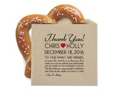 Wedding Favor Cookie Bags - Pretzel Favor Bags - Thank You Note - Double Opening Grease Resistant Kraft Favor Bags