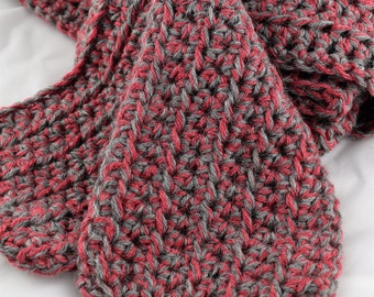 Fuchsia and Silver Twist Alpaca Blend Crochet Scarf ... awesome for men or women