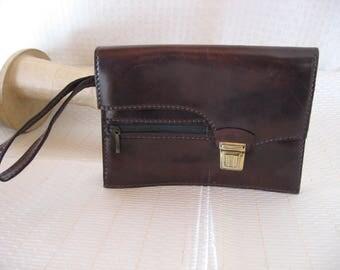 Vintage Brown Leather Wristlet