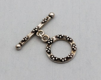 Bali Sterling Silver Toggle Clasp, jewelry findings, ornate with dots