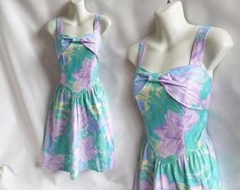Vintage 60s Dress Size M Aqua Blue Lavender Cotton Sun Strappy Smocked Disco 70s