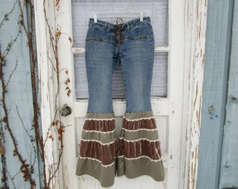 Bohemian Hippie Blue Jean Pantaloons Studded Hip Huggers Denim// Upcycled// Festival// Lace Up/ emmevielle