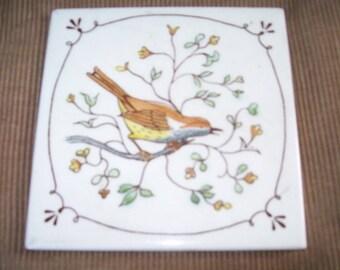 Ceramic hotplate of a brown wren or sparrow-Cute!