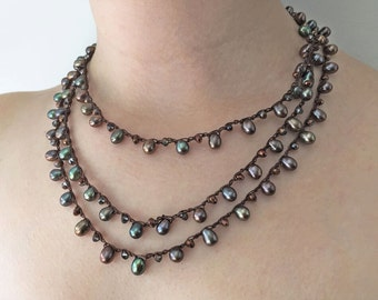 Chain Stitch Necklace Kit - Bronze Pearl