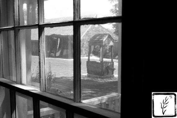 B&W Photograph, fine art, photo print, wall art, home decor, well, Walt Whitman, Long Island, New York, historic, poetry, haiku, old window