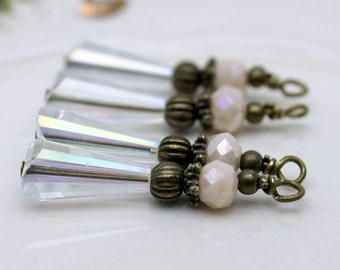Vintage Style Clear AB Teardrop and Ivory Crystal Bead Dangle Charm Drop Set, Pendant, Earring Dangles, Charm