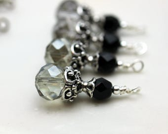 Vintge Style Gray Rondelle Crystal with Black Czech Bead and Ornate Silver Bead Dangle Charm Drop Set - Earring Dangle, Charm, Drop, Pendant