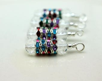 Multicolored Crystal Spacer Stacked Earring Dangle Drop Beaded Set
