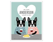 225P Wine Lover Gift - Custom Name Boston Terriers Drinking Wine Wall Art - Wine Art - Personalized Wine Print - Wedding Gift for Couples