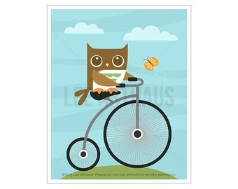 44A Owl Print - Owl on Bicycle Wall Art - Bicycle Art - Penny Farthing Bicycle Print - Owl Art - Owl Wall Art - Bicycle Poster - Owl Decor