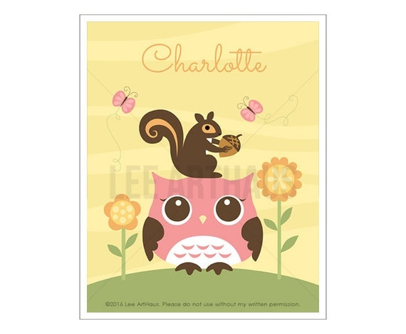 119P Baby Girl Wall Art - Personalized Pink Owl with Squirrel and Flowers Wall Art - Custom Name Baby Girl Nursery Wall Art - Pink Owl Art