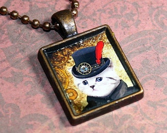 Steampunk Cat Resin Necklace - Resin Pendant