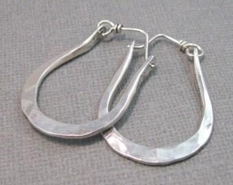 ON SALE - Artisan Hammered Sterling Silver Hoops, Handmade Hoop Earrings by Liz Blanchflower