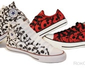 2 Pair of custom canvas skull shoes  His and Hers, Mens and womens skull shoes canvas unique custom shoes