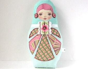 Patchwork Doll, Babushka Plush, Modern Folk Doll, Cute Cloth Doll, Cloth Russian Doll, Collectable Doll