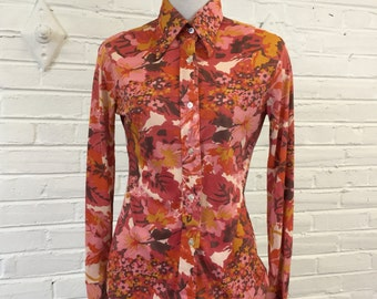 1970s Red Floral Disco Shirt, size S
