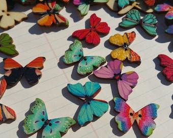 """Wood Butterfly Buttons - Wooden Butterflies Button - Sewing Crafting Butterflies - 1 1/8"""" Tall - 3/4"""" Wide"""