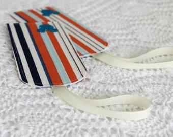 Set of 2 - Cabana Stripe - Mouse Ears - Luggage Tags