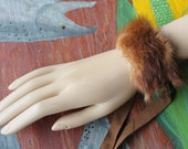 Fur bracelet - Real brown mink fur cuff totem bracelet with leather straps for neotribal costume and festival wear