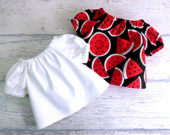 Set of Two 18 inch Doll Peasant Tops, Watermelon Top AND White on White Floral Top