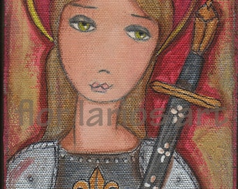 Joan of Arc - Giclee print mounted on Wood (5 x 7 inches) Folk Art  by FLOR LARIOS