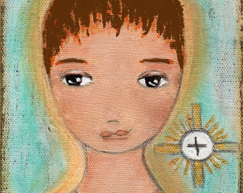 First Communion Boy -  Giclee print mounted on Wood (4 x 5 inches) Folk Art  by FLOR LARIOS