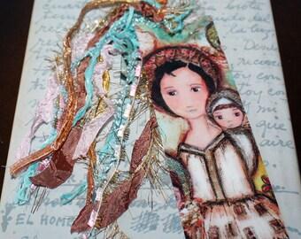 Saint Gianna Molla -  Laminated Bookmark  Handmade - Original Art by FLOR LARIOS