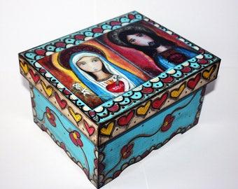 Sacred Hearts of Jesus and Mary - Original Mixed Media Handmade Jewelry Box Folk Art by FLOR LARIOS