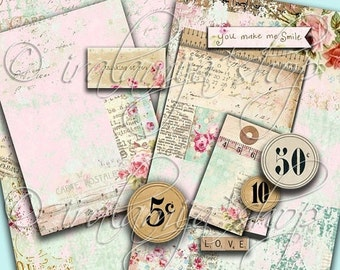 SALE VINTAGE FINDS Collage Digital Images -printable download file- Scrapbook paper
