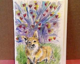 Welsh Corgi by a Heart Tree, Dog Card, Corgi Card, Corgi Painting, Hand Painted, Love Theme, Watercolour Art, Corgi Gifts, Original Painting