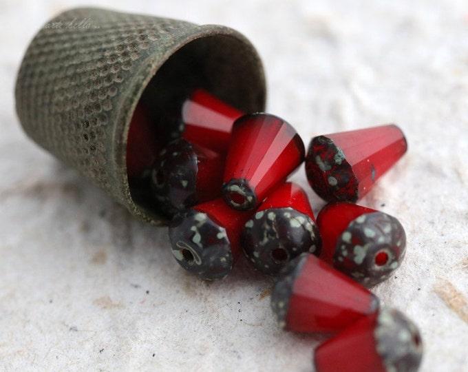 VAMP DROPETTES No. 2 .. 10 Picasso Czech Glass Drop Beads 8x6mm (5558-10)